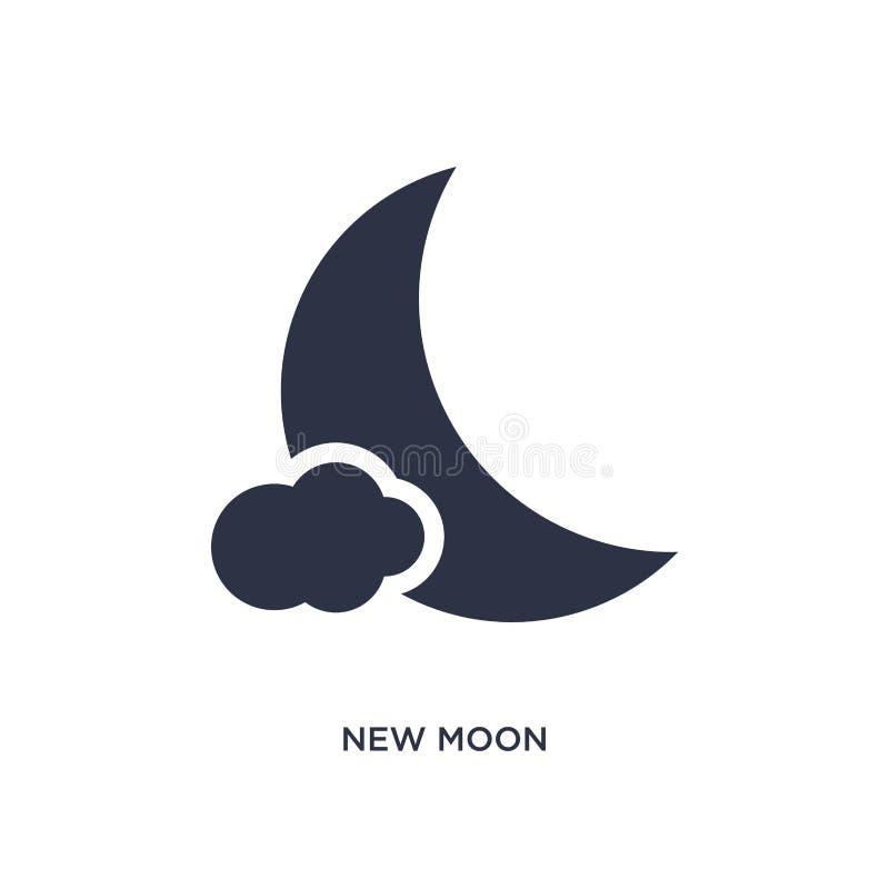 icona della nuova luna su fondo bianco Illustrazione semplice dell'elemento dal concetto del tempo illustrazione vettoriale