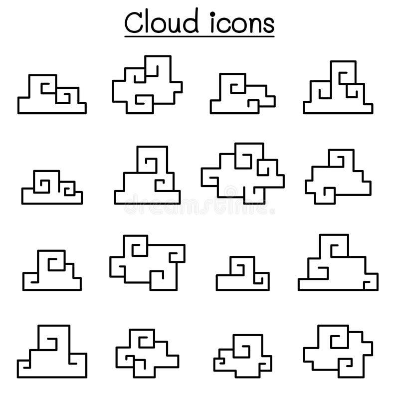 Icona della nuvola di fantasia messa nello stile asiatico illustrazione di stock