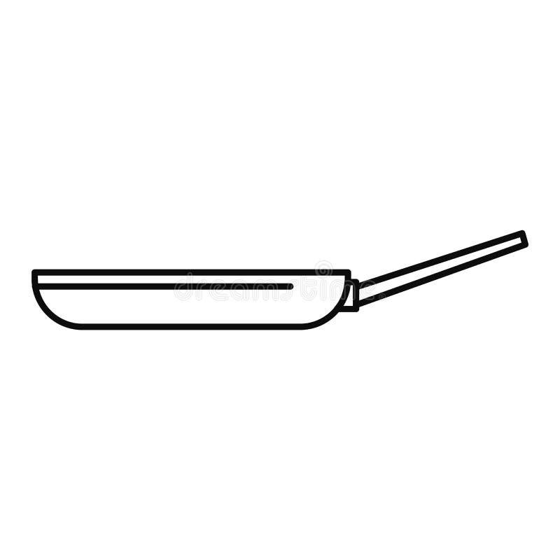 Icona della padella, stile del profilo immagini stock