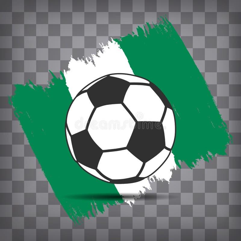 icona della palla di calcio sul fondo nigeriano della bandiera dal colpo della spazzola illustrazione di stock