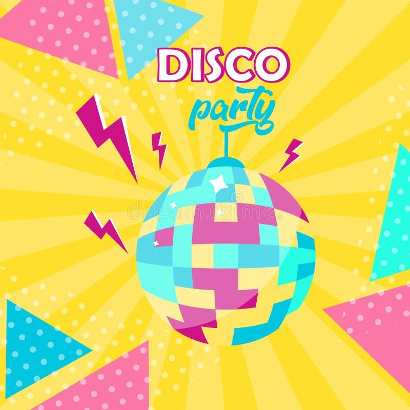 Icona della palla della discoteca Manifesto del partito di discoteca illustrazione vettoriale