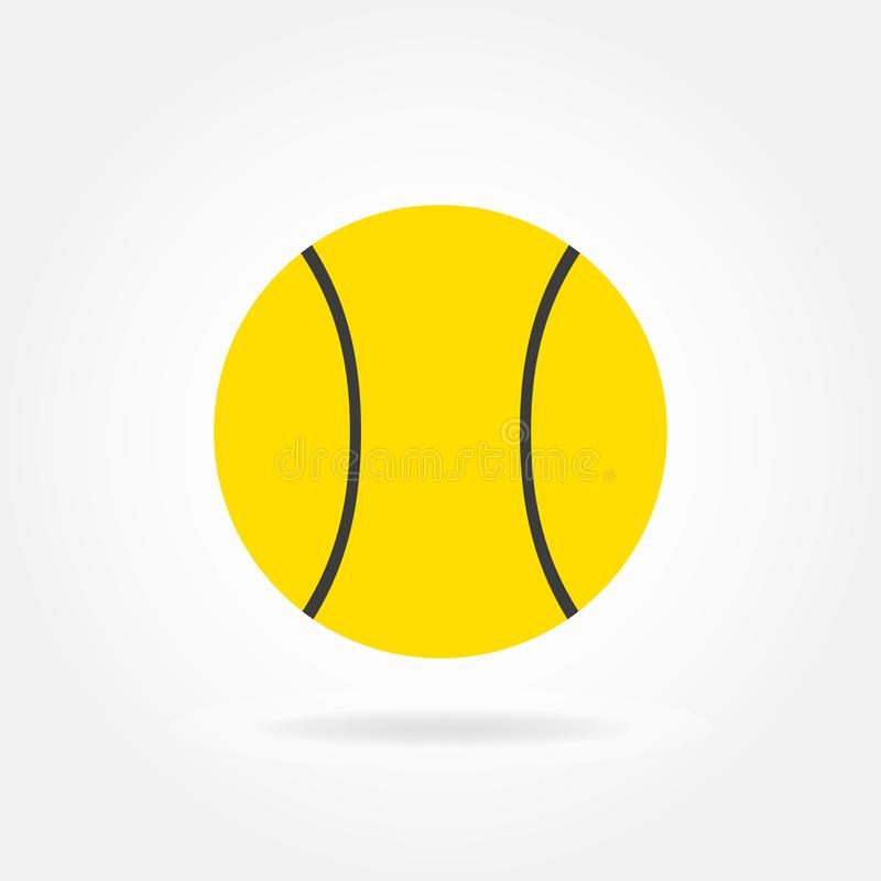 Icona della pallina da tennis nello stile piano isolata su fondo bianco Illustrazione di vettore illustrazione vettoriale