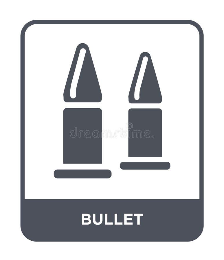 icona della pallottola nello stile d'avanguardia di progettazione Icona della pallottola isolata su fondo bianco simbolo piano se illustrazione di stock