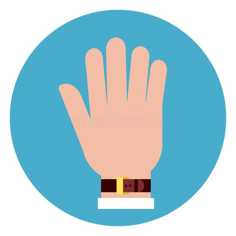 Icona della palma della mano su fondo blu rotondo illustrazione di stock