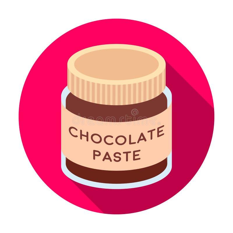 Icona della pasta del cioccolato nello stile piano isolata su fondo bianco Illustrazione di vettore delle azione di simbolo dei d royalty illustrazione gratis