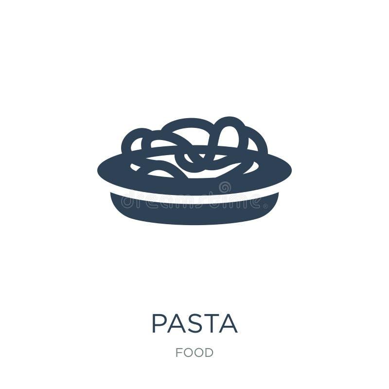 icona della pasta nello stile d'avanguardia di progettazione Icona della pasta isolata su fondo bianco simbolo piano semplice e m illustrazione vettoriale