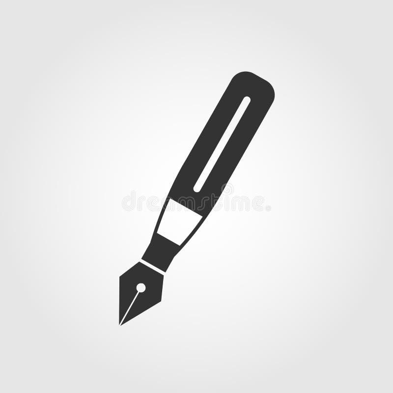 Icona della penna stilografica, progettazione piana illustrazione vettoriale