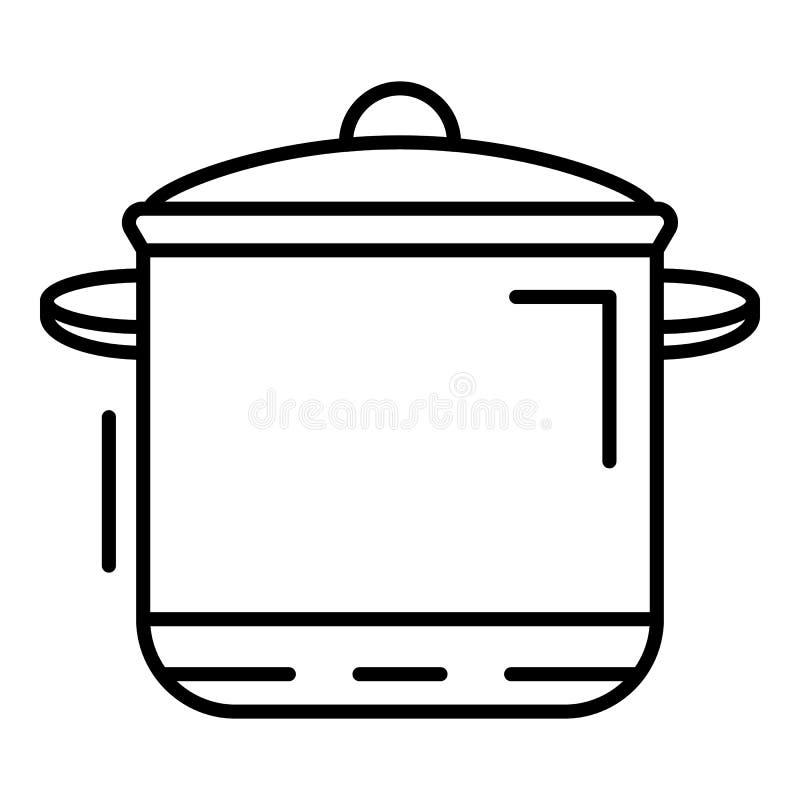 Icona della pentola del fornello, stile del profilo illustrazione vettoriale