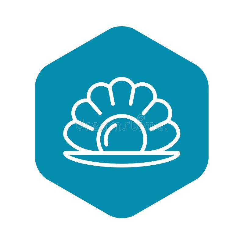 Icona della perla della conchiglia, stile del profilo illustrazione vettoriale
