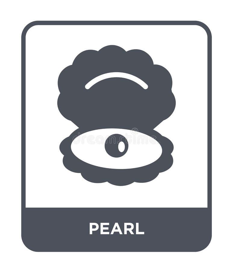 icona della perla nello stile d'avanguardia di progettazione icona della perla isolata su fondo bianco simbolo piano semplice e m illustrazione di stock