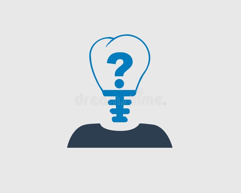 Icona della persona di Mark In Bulb Headed di domanda illustrazione vettoriale