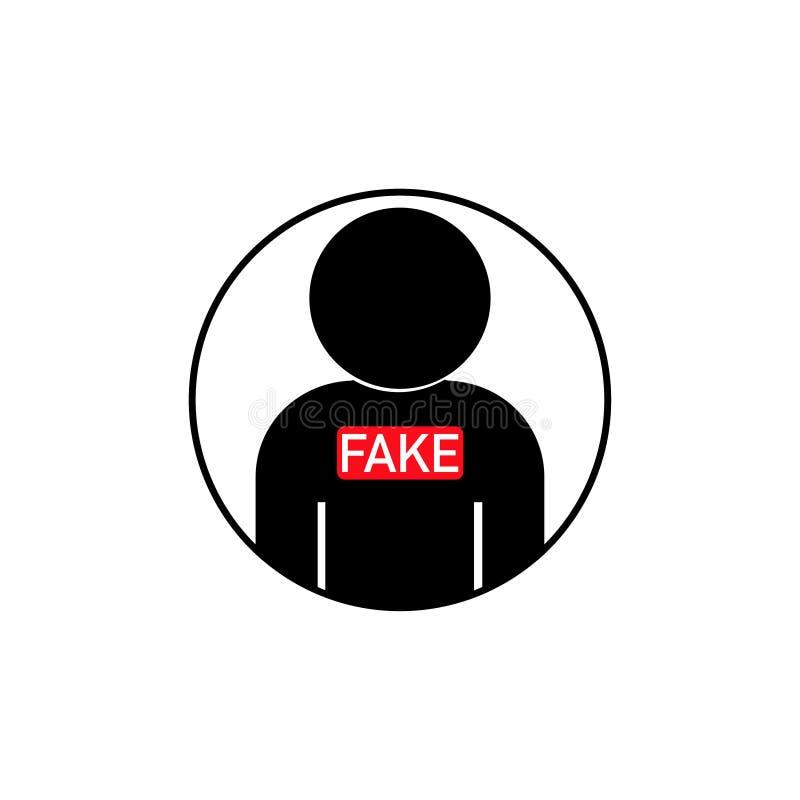 icona della persona nel cerchio con l'insegna falsa illustrazione vettoriale