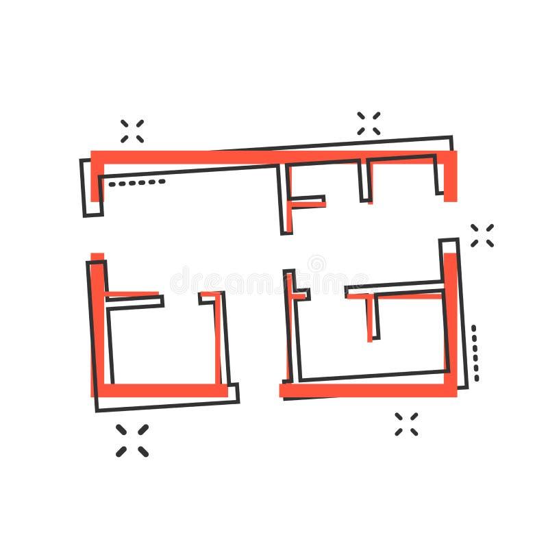 Icona della pianta della casa del fumetto di vettore nello stile comico Schema dell'architetto illustrazione vettoriale