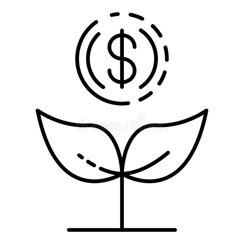 Icona della pianta di soldi di aumento, stile del profilo illustrazione vettoriale