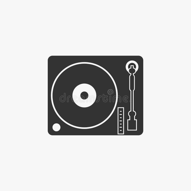 Icona della piattaforma girevole della puleggia tenditrice di disco, musica illustrazione di stock