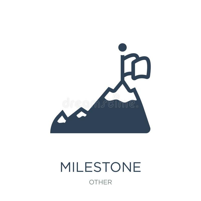 icona della pietra miliare nello stile d'avanguardia di progettazione icona della pietra miliare isolata su fondo bianco piano se illustrazione di stock