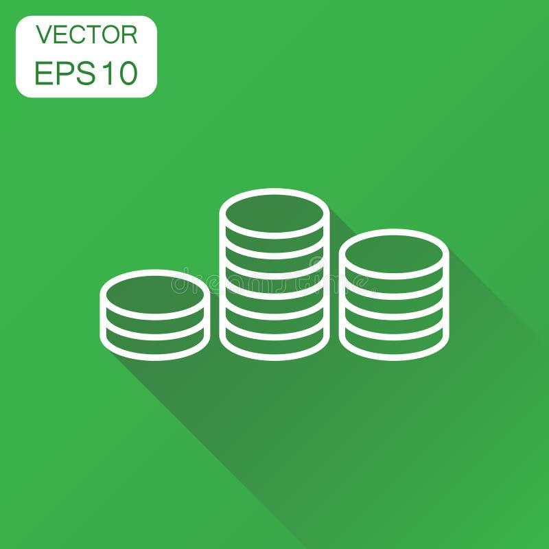 Icona della pila dei soldi delle monete Pittogramma della moneta di concetto di affari Vettore illustrazione di stock