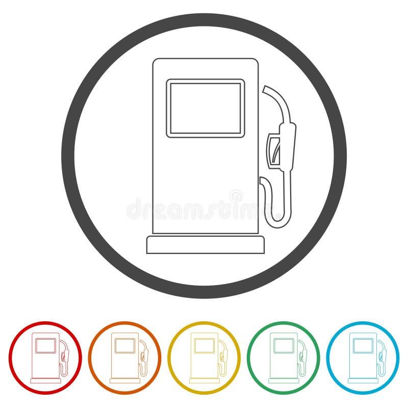 Icona della pompa di gas, simbolo del combustibile diesel e della benzina, 6 colori inclusi illustrazione di stock