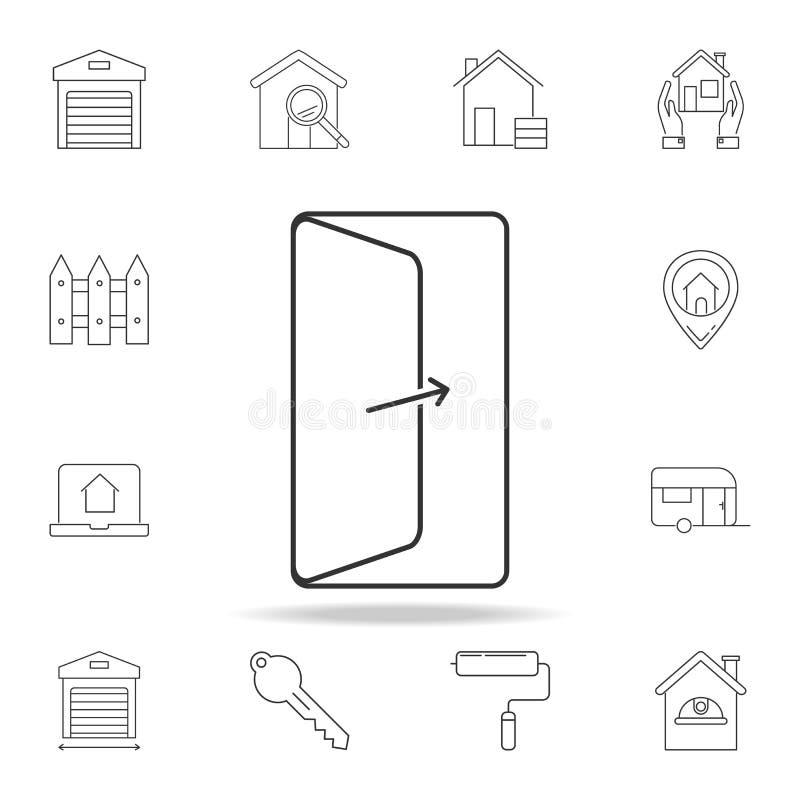 Icona della porta aperta Insieme delle icone dell'elemento del bene immobile di vendita Progettazione grafica di qualità premio S illustrazione di stock