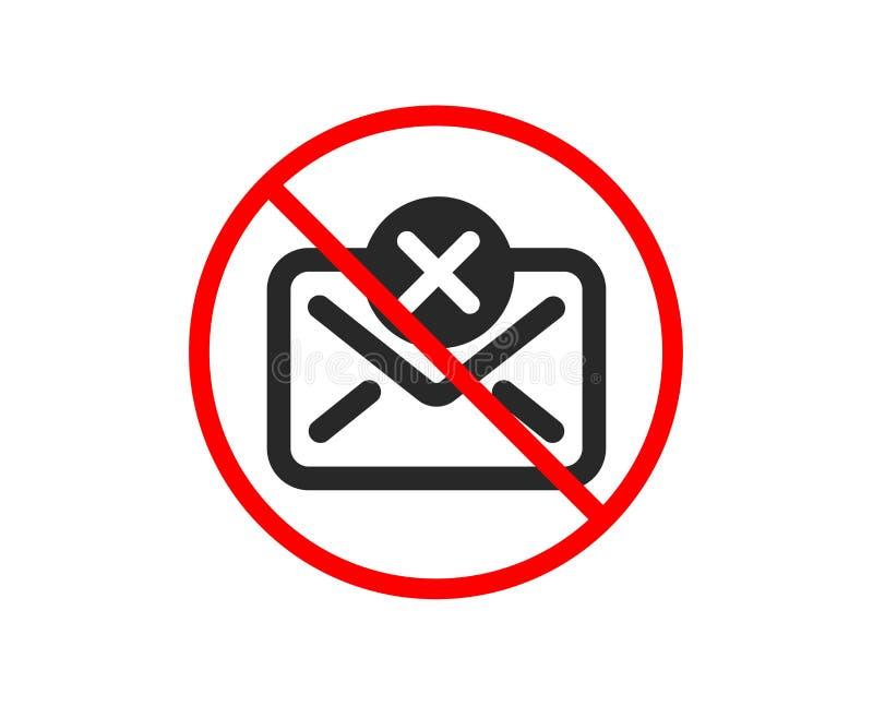 Icona della posta di scarto Segno del messaggio di cancellazione Vettore illustrazione di stock