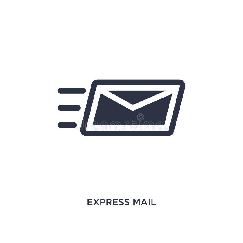 icona della posta espressa su fondo bianco Illustrazione semplice dell'elemento dalla consegna e dal concetto logistico illustrazione di stock