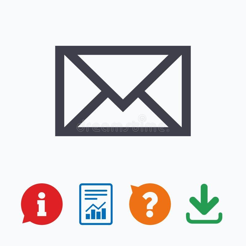 Icona della posta Simbolo della busta Segno del messaggio illustrazione di stock