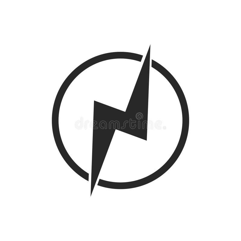 Icona della potenza elettrica Segno o elemento elettrico Simbolo del modello di pericolo elettrico Isolato su fondo bianco royalty illustrazione gratis