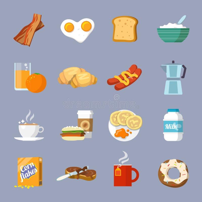 Icona della prima colazione piana illustrazione vettoriale