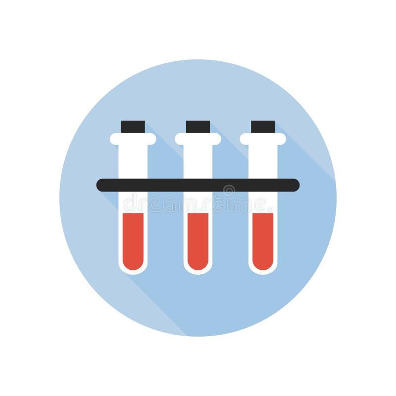 Icona della provetta del gruppo sanguigno Tema fluido del donatore del reso di scienza della bottiglia del laboratorio di reazion illustrazione di stock