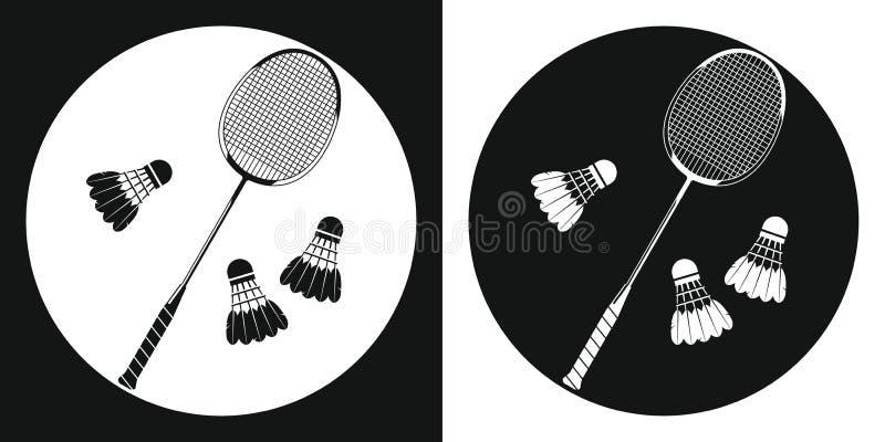 Icona della racchetta di volano Profili la racchetta di tennis ed il volano di volano tre su un fondo in bianco e nero Mette in m illustrazione di stock