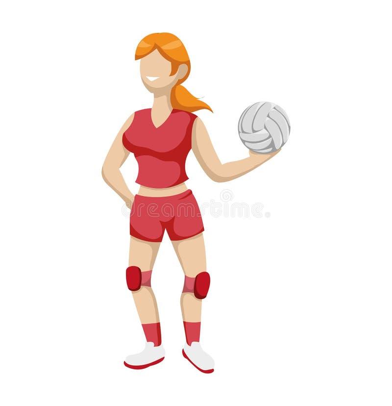 Icona della ragazza del fumetto e di pallavolo Concetto di sport Grafico di vettore illustrazione vettoriale