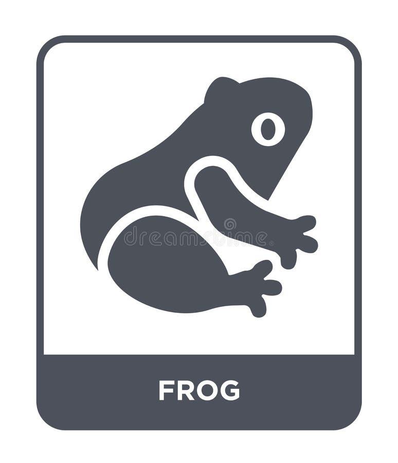 icona della rana nello stile d'avanguardia di progettazione Icona della rana isolata su fondo bianco simbolo piano semplice e mod royalty illustrazione gratis