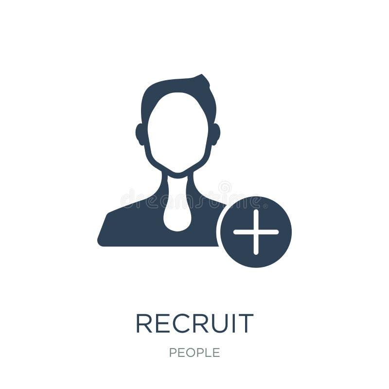 icona della recluta nello stile d'avanguardia di progettazione icona della recluta isolata su fondo bianco simbolo piano semplice illustrazione vettoriale