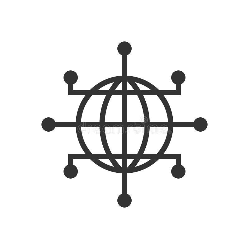 Icona della rete globale nello stile piano Illustrazione cyber di vettore del mondo su fondo isolato bianco Concetto di affari de illustrazione di stock