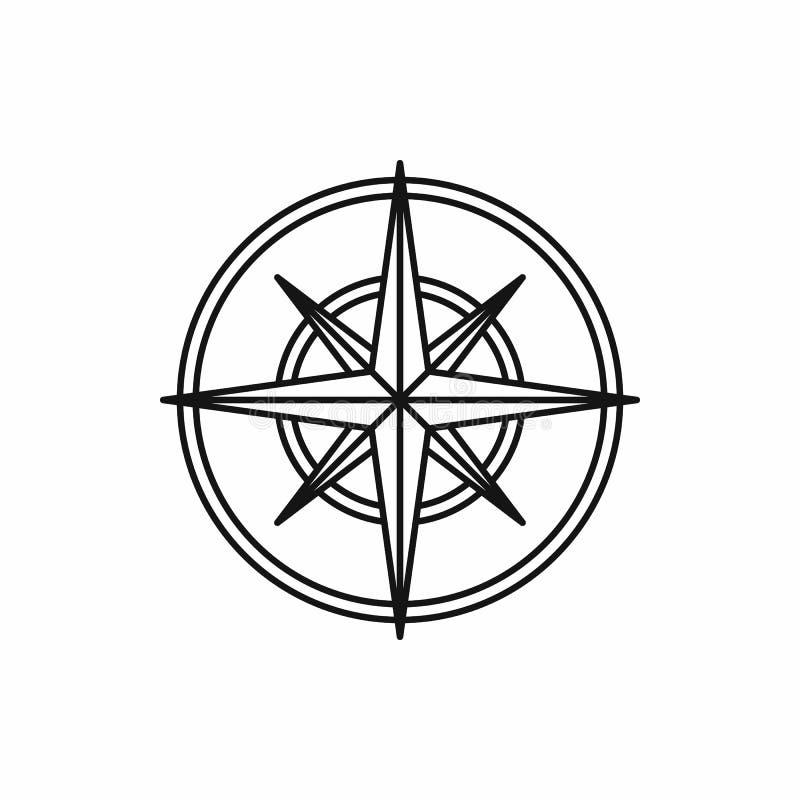 Icona della rosa dei venti di bussola, stile del profilo illustrazione vettoriale