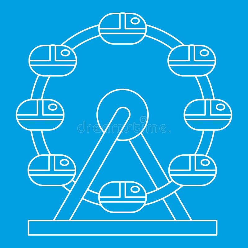 Icona della ruota panoramica, stile del profilo illustrazione di stock