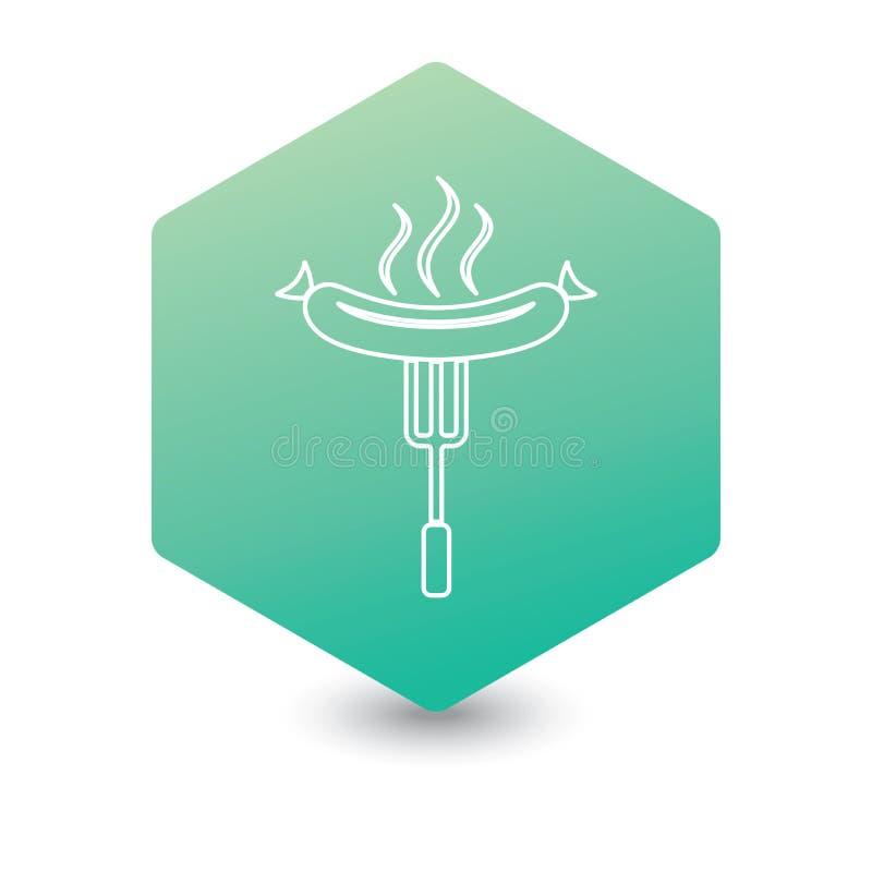 Icona della salsiccia del barbecue illustrazione vettoriale