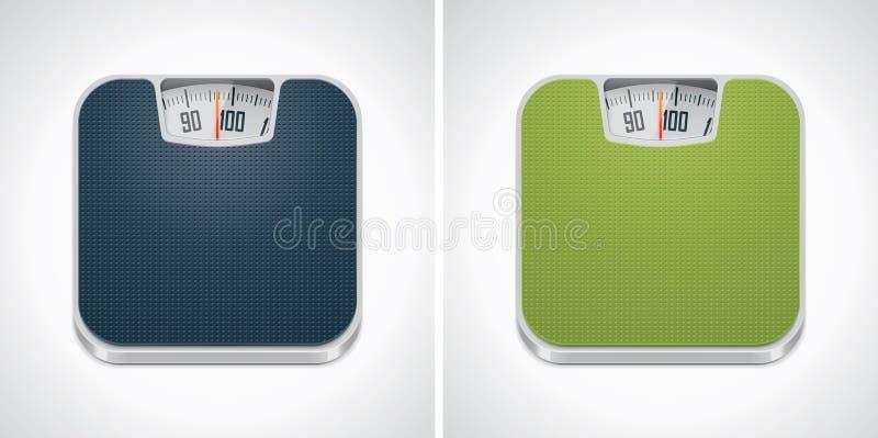 Icona della scala del peso della stanza da bagno di vettore illustrazione di stock