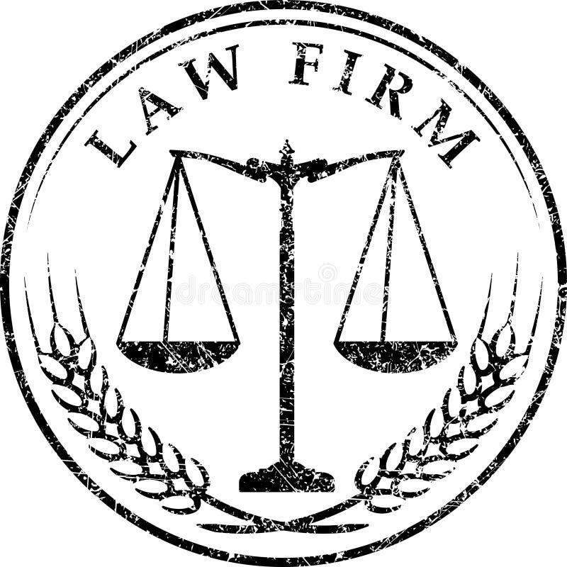 Icona della scala della giustizia con lo STUDIO LEGALE di titolo nel timbro di gomma di lerciume royalty illustrazione gratis