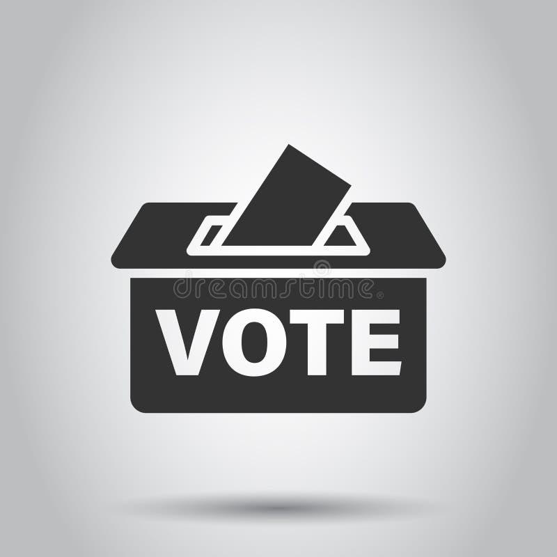 Icona della scatola dell'elettore di elezione nello stile piano Illustrazione di vettore di suggerimento del voto su fondo bianco illustrazione vettoriale