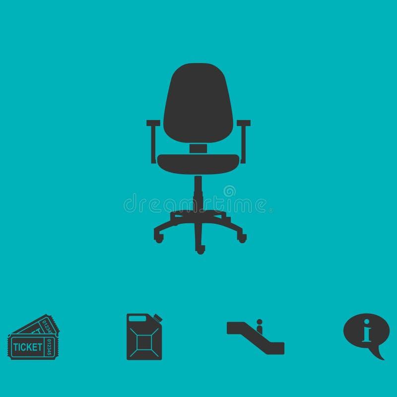 Icona della sedia dell'ufficio pianamente illustrazione di stock