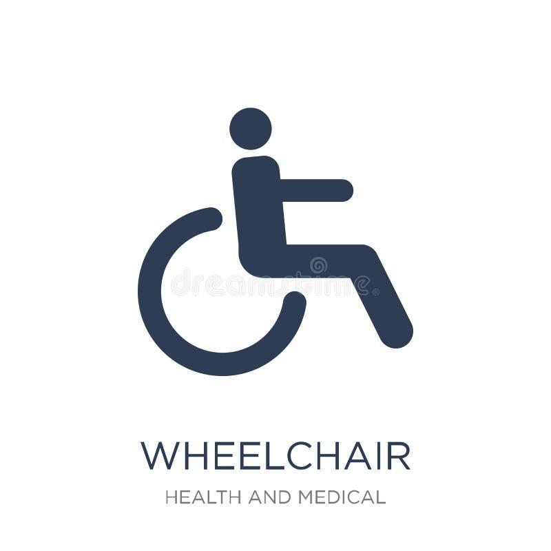 Icona della sedia a rotelle Icona piana d'avanguardia della sedia a rotelle di vettore sul BAC bianco royalty illustrazione gratis