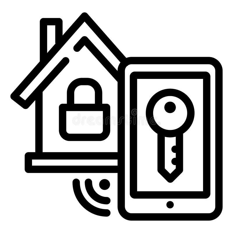 Icona della serratura della casa intelligente, stile del profilo illustrazione vettoriale