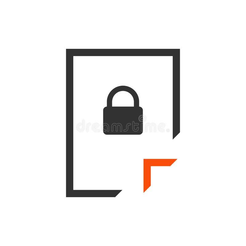 Icona della serratura del documento Sblocchi l'archivio Chiuda l'archivio a chiave Documento segreto Illustrazione di vettore iso illustrazione vettoriale