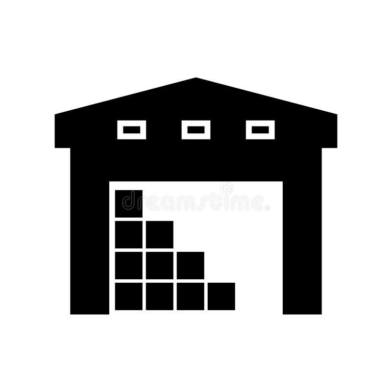 Icona della siluetta della costruzione del magazzino illustrazione di stock