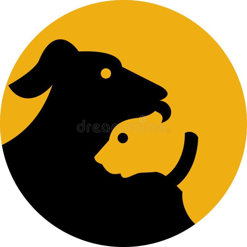 Icona della siluetta del cane e del gatto di animale domestico illustrazione vettoriale
