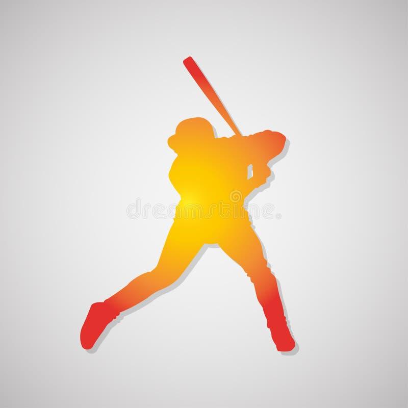 Icona della siluetta del giocatore di baseball con ombra in arancia Illustrazione di vettore royalty illustrazione gratis