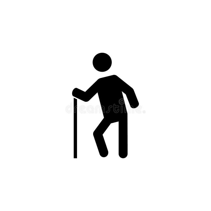 Icona della siluetta dell'uomo anziano illustrazione vettoriale
