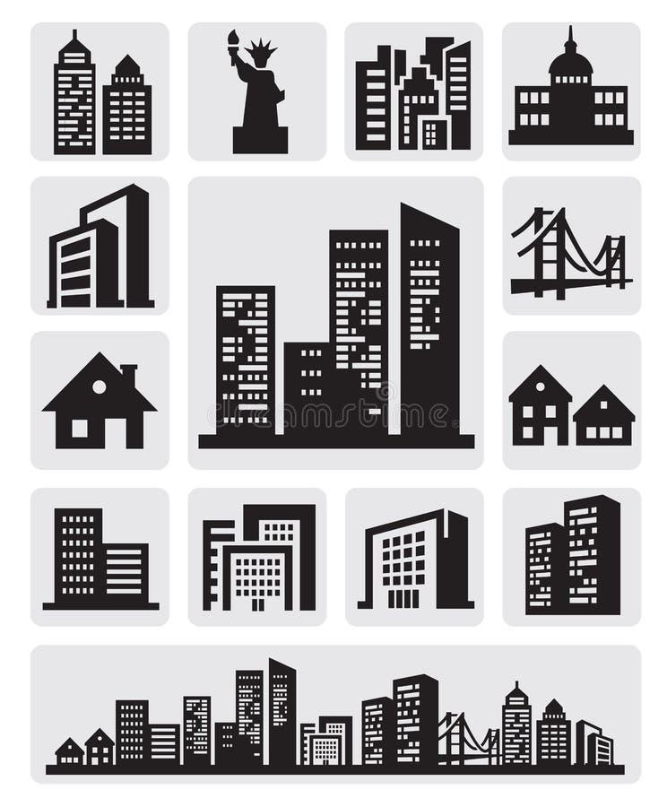 Icona della siluetta delle città illustrazione di stock