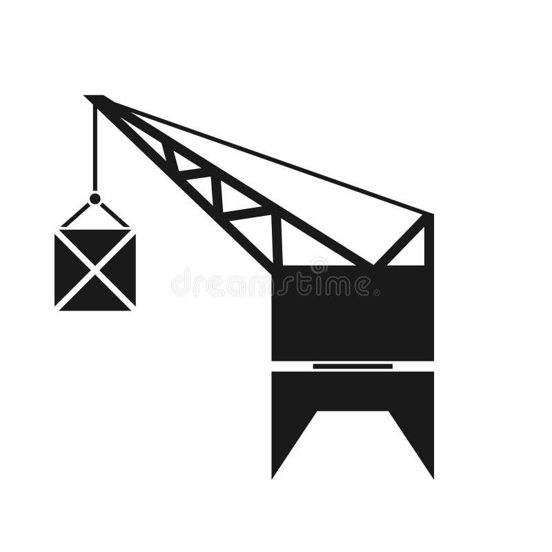 Icona della siluetta della gru del porto illustrazione di stock